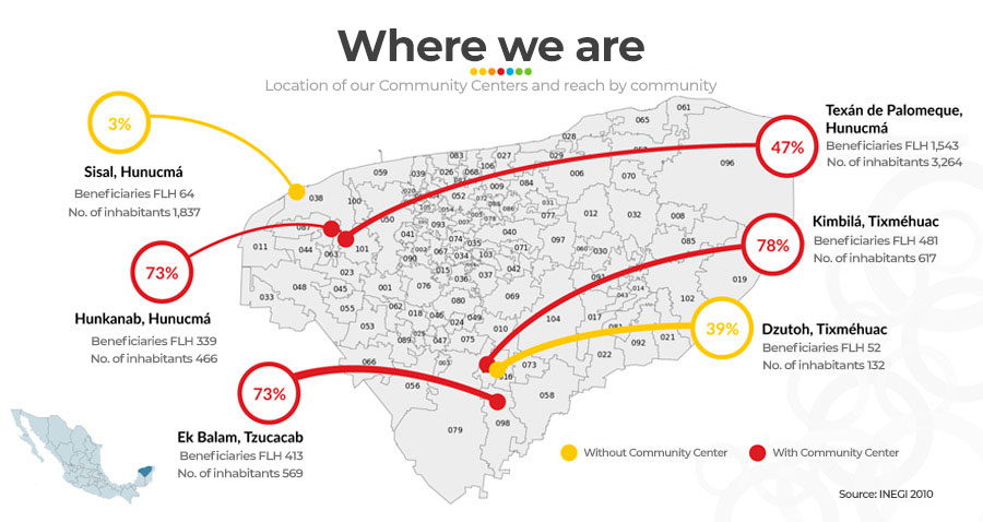 Where We Are - Map of Locations of Community Centers - Fundación Legorreta Hernández